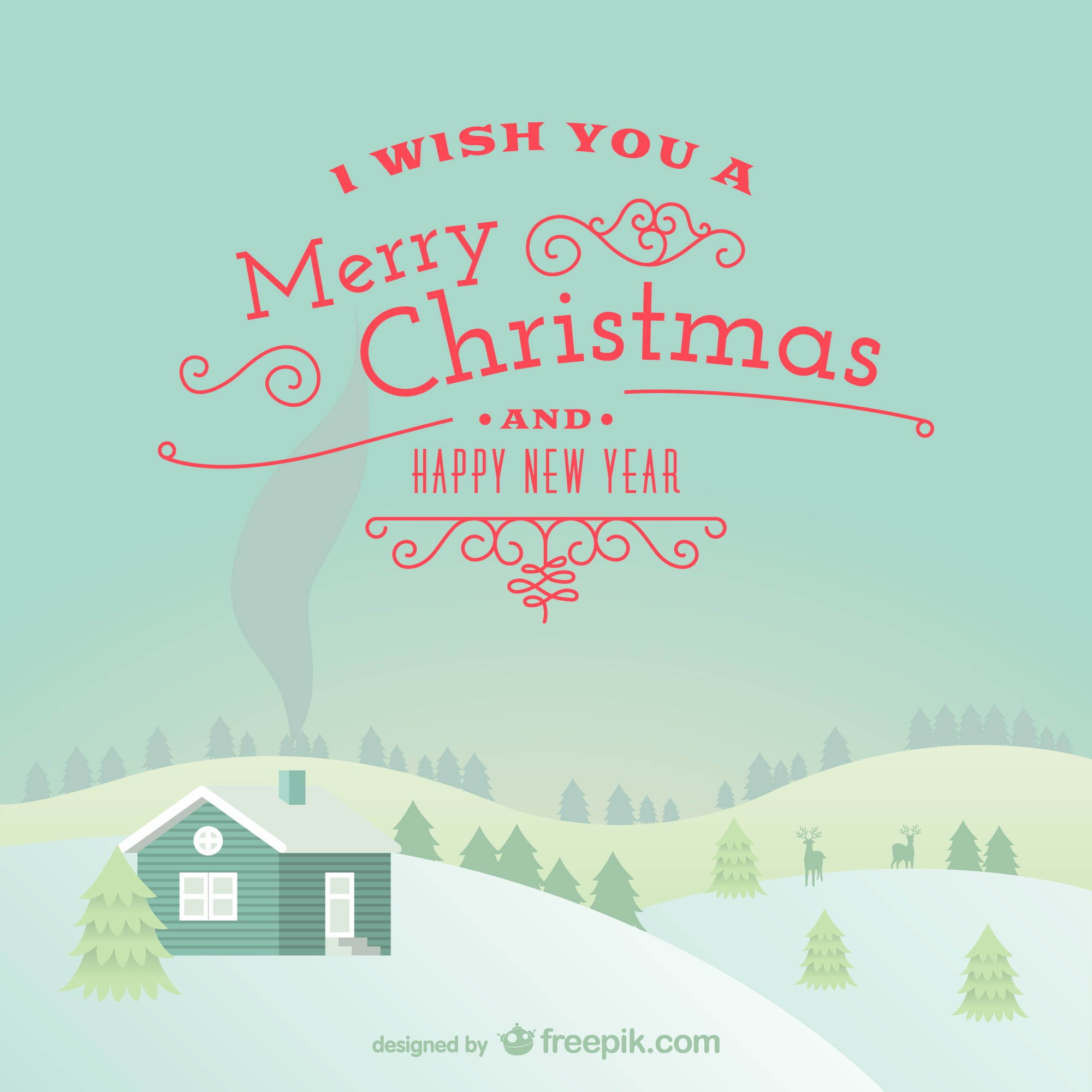 Merry Christmas background with snowy landscape