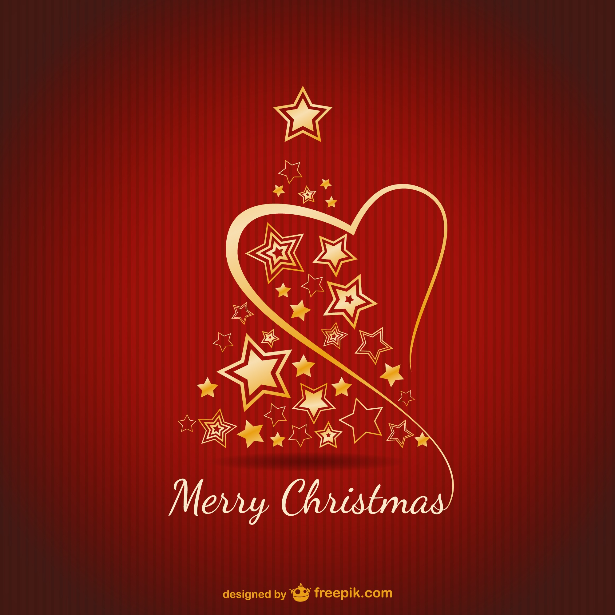 Merry Christmas card with golden ornaments