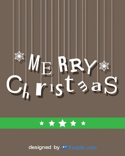 Merry Christmas card with hanging letters