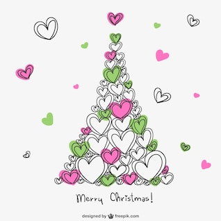 Merry Christmas card with hearts