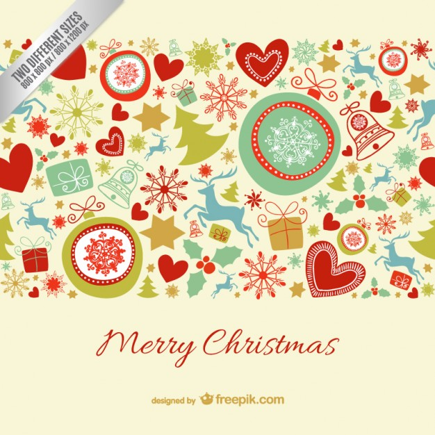 Merry Christmas card with pattern