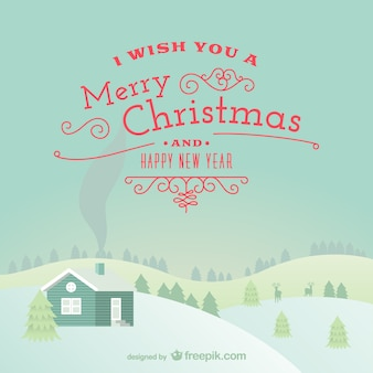 Merry Christmas card with snowy landscape