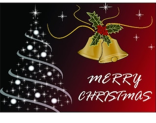 Merry Christmas card with tree and bells