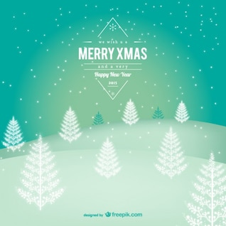 Merry Christmas label with snowy landscape