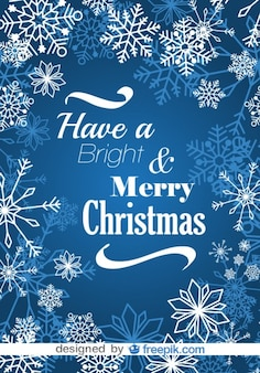 Merry Christmas Snowflakes Blue Postcard