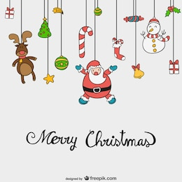 Merry Christmas vector with cute cartoons