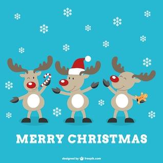 Merry Christmas vector with reindeers