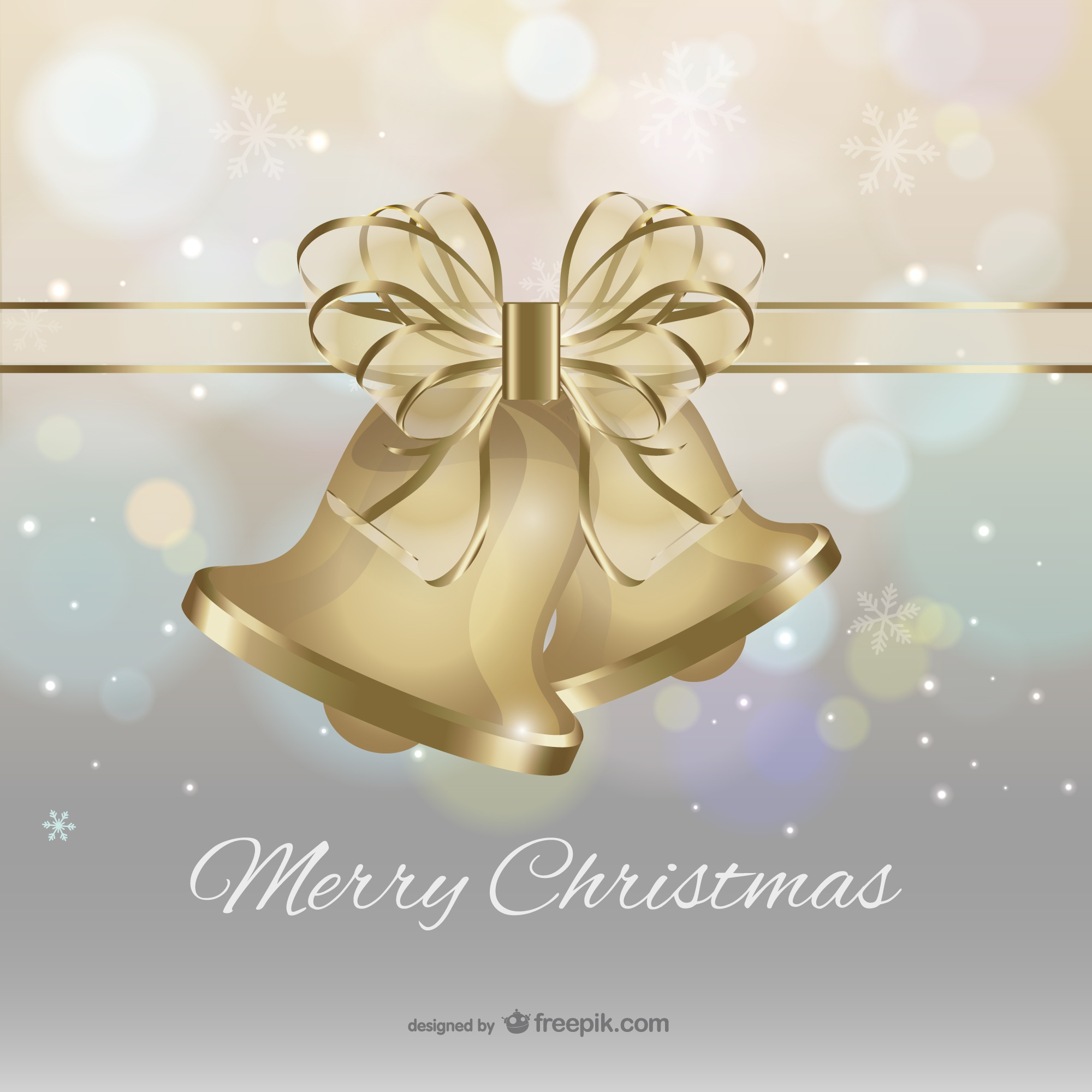 Merry Christmas with golden bells and bow vector