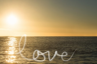 Message of love at sunset