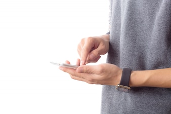 Messaging guy holding touch screen telephone
