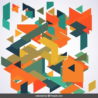 Messy polygons in green and orange tones