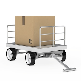 Metal cart with a cardboard box