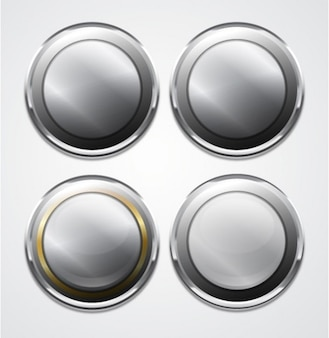 Metal round-shaped ui buttons vector set