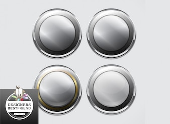 Metallic rounded buttons and badges