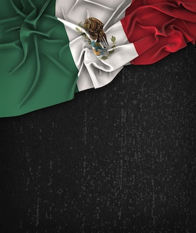 Mexico Flag Vintage on a Grunge Black Chalkboard With Space For Text
