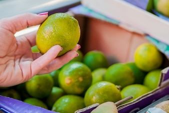 Mid section of woman buying sweet lime in supermarket. Woman buying fruits in organic green market. woman choosing fresh  lime