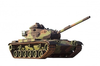 Militar tank on white background