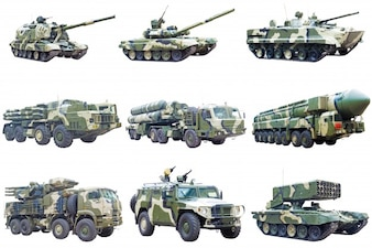 Militar vehicles on white background