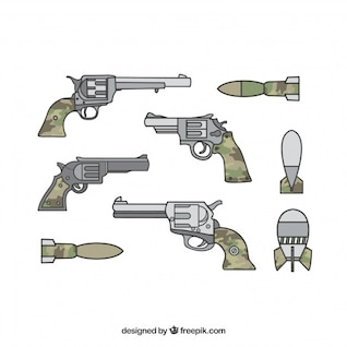 Military weapons with guns and pistols