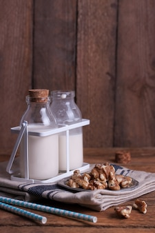 Milk bottles and nuts