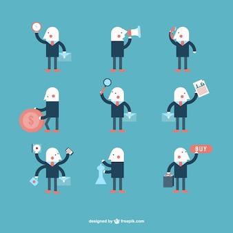 Minimalist businessman character design vector set