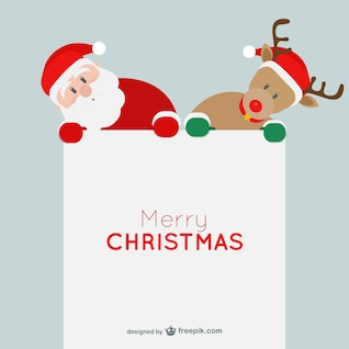 Minimalist Christmas card with Santa Claus and reindeer