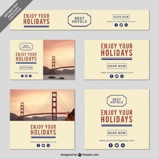 Minimalist holidays banner templates