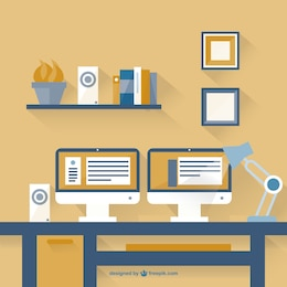 Minimalist two monitors flat design