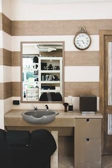 Mirror in hairdressing salon