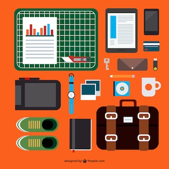 Mobile office kit flat template