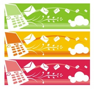 Mobile phone banners with floating mail and floral elements