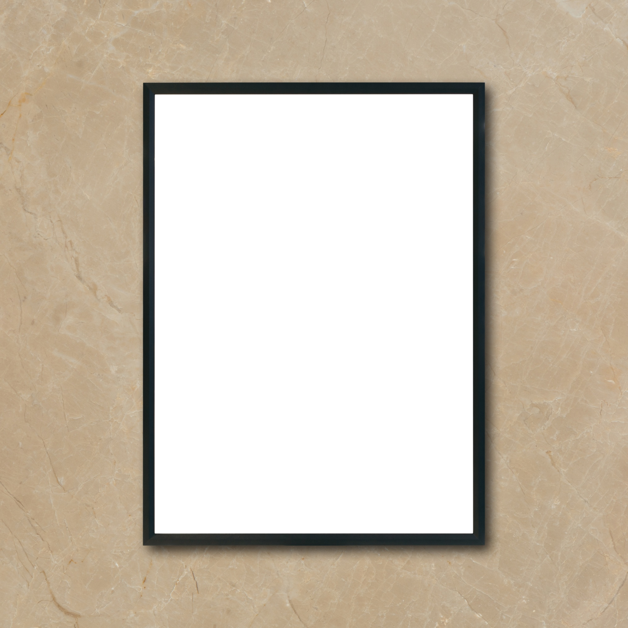 Mock up blank poster picture frame hanging on brown marble wall in room - can be used mockup for montage products display and design key visual layout.