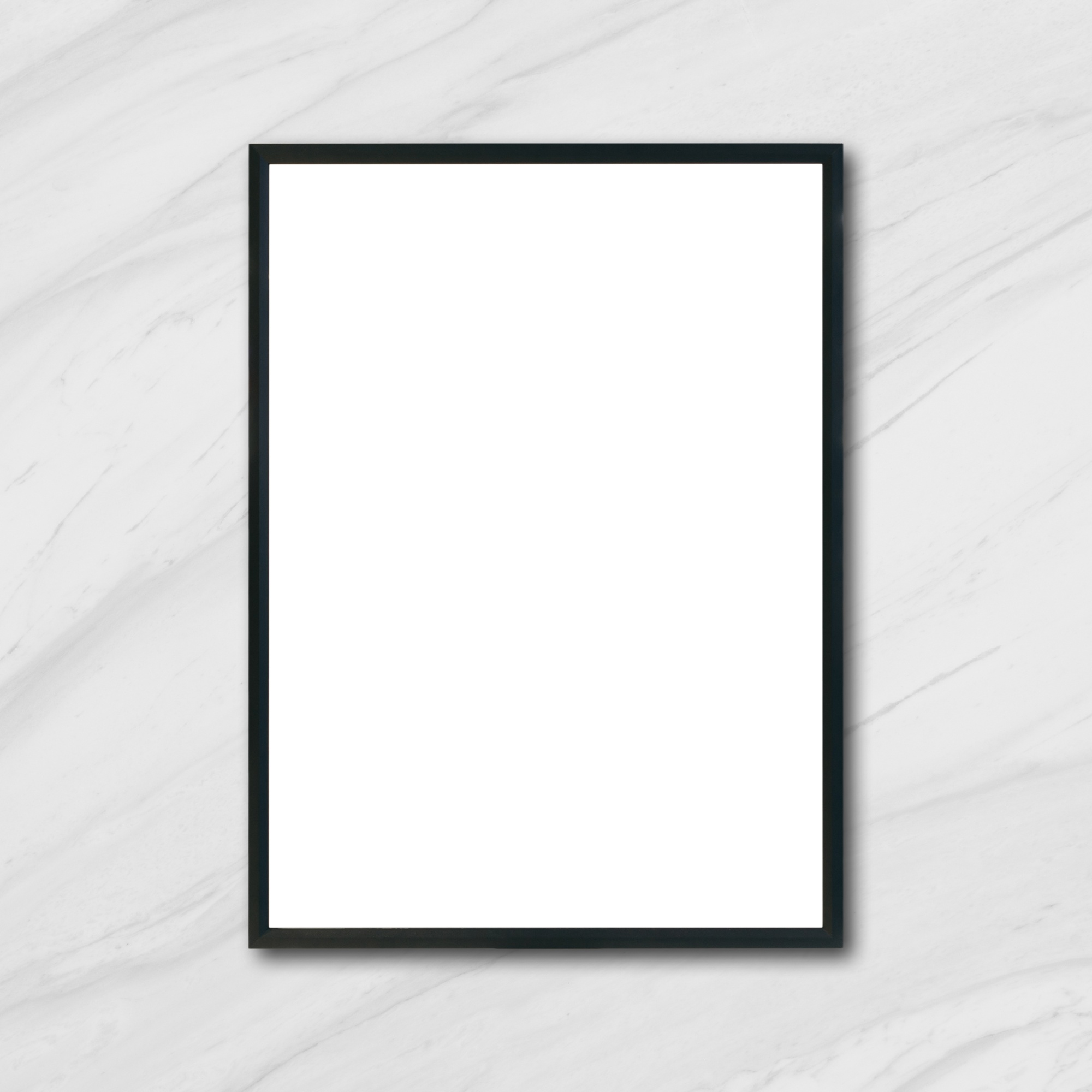 Mock up blank poster picture frame hanging on white marble wall in room - can be used mockup for montage products display and design key visual layout.