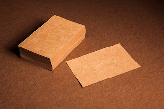 Mockup of blank cardboard business cards