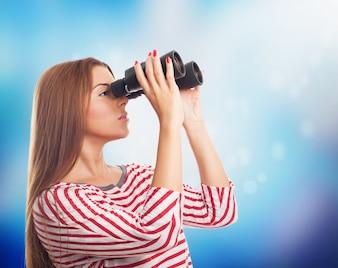 Model watching through binoculars