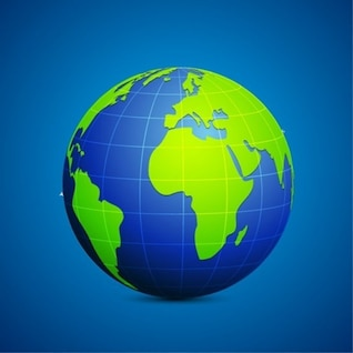 Modern, Light Blue & Green Globe