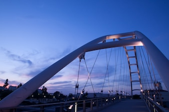 Modern bridge on the sunset, california