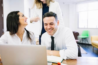 Modern business people smiling
