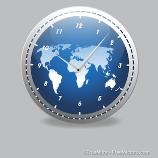 Modern clock with world map