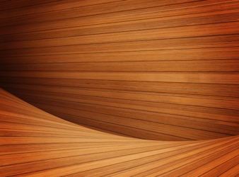 Modern Curved wooden background. Curved wooden interior from vagarious planks and wood types.