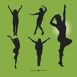 Modern dancers silhouettes set