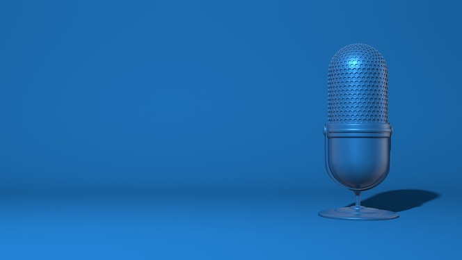 Modern microphone for a stream, video blogger. trendy classic blue color. 3d rendering