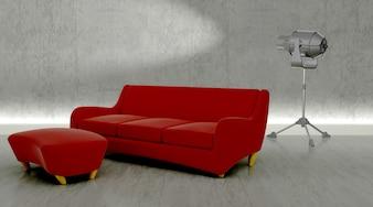 Modern studio with sofa