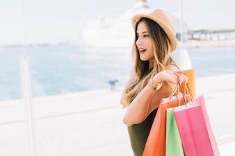 Modern woman shopping in summer