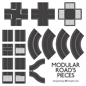 Modular roads pieces