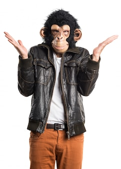 Monkey man doing surprise gesture