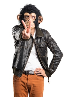 Monkey man doing victory gesture