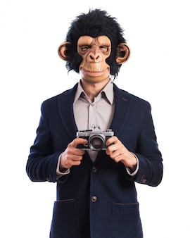 Monkey man photographing
