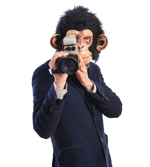 Monkey man with video camera