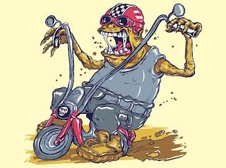 Monster on bike dirty drive illustrations
